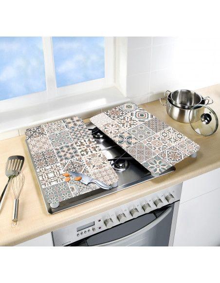 Lot de 2 plaques de protection en verre pour cuisinière - Carreaux - Universel