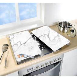 Lot de 2 plaques de protection en verre pour cuisinière - Marbre - Universel