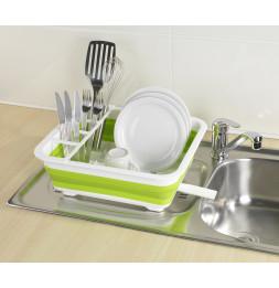 Égouttoir à vaisselle pliable - Blanc/vert