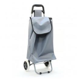 Chariot de courses uni gris - Poussette de marché