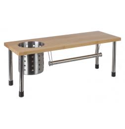 Etagère de cuisine en bambou et inox avec dérouleur essuie-tout - Petit meuble de rangement