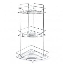 Etagère d'angle de salle de bain 3 plateaux - A poser ou à suspendre - Décoration