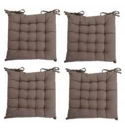 Lot de 4 galettes de chaise matelassées - 38 x 38 cm - Taupe