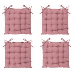 Lot de 4 galettes de chaise matelassées - 38 x 38 cm - Rose