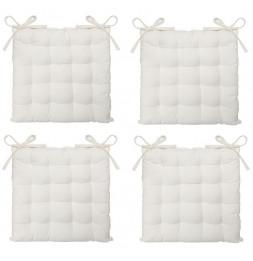Lot de 4 galettes de chaise matelassées - 38 x 38 cm - Blanc ivoire