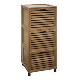 Commode de salle de bain 3 tiroirs - Bambou - Meuble de rangement