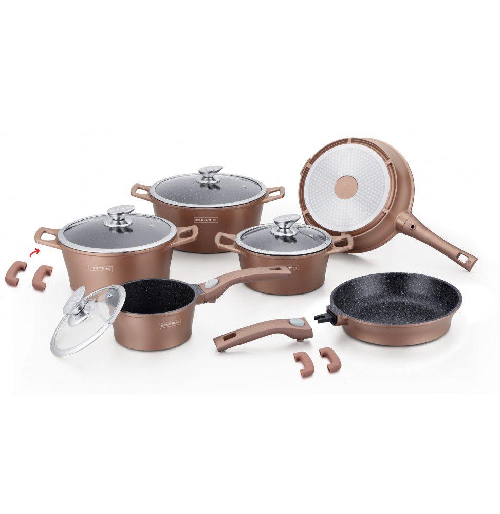 Set de 4 casseroles et 2 poêles avec revêtement en marbre - Tailles différentes - Couleur cuivre