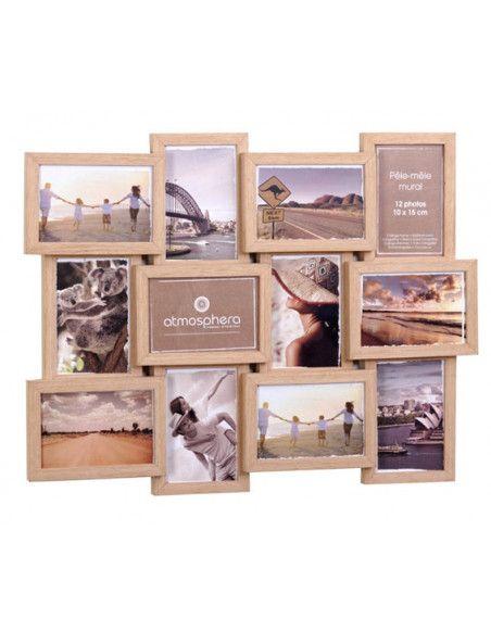 Pêle-mêle 12 photos - Nature couleur bois - Cadre multi photos
