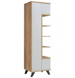 Armoire haute Bogota - L 60 x P 40 x H 192 cm - Beige et blanc