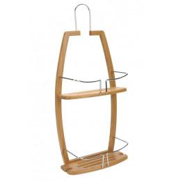 Serviteur de douche - A suspendre - Etagère en bambou et métal chromé - Module de rangement