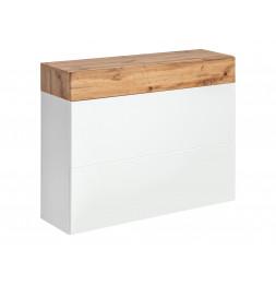 Armoire murale double étagère et tiroir Easy IX - L 100 x P 30 x H 80 cm - Marron et blanc