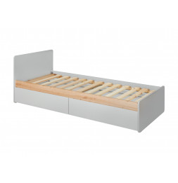 Lit simple Vivero avec sommier - L 205 x P 99 cm x H 78 cm - Gris et marron