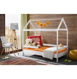 Lit enfant maison Timmy - L 164 x P 89 x H 145 cm - Blanc