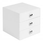Boîte de rangement 3 tiroirs - Blanc - Mini commode