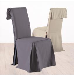 Housse de chaise ajustable - Gris foncé - 100% coton