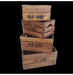 Set 4 cageots de pommes - Tailles différentes - Bois