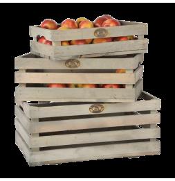 Set 3 cageots de pommes - Tailles différentes - Bois