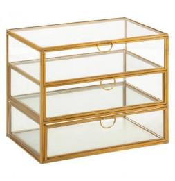 Boîte à 3 tiroirs - L 18 x l 12 x H 15 cm - Verre