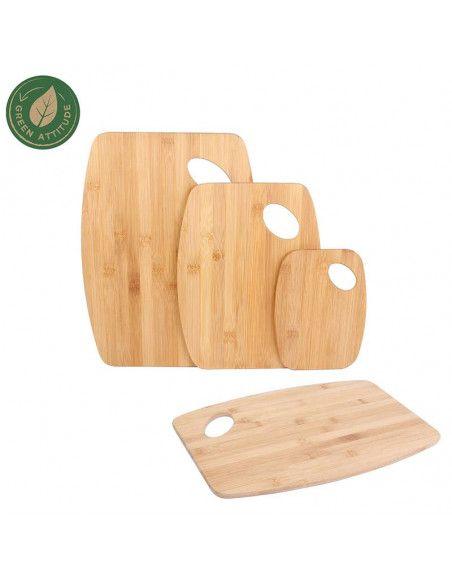 Lot de 3 planches à découper - L 38 cm x l 28 cm - Bambou