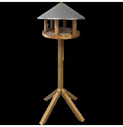 Mangeoire ronde toit en zinc - L 58 x l 58 x H 116 cm - Chêne