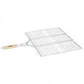 Double grille rectangulaire quadrillée pour barbecue - 40 x 50 cm - Métal chromé