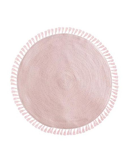 Tapis à franges - 90 cm - Lurex - Rose