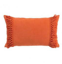 Coussin à franges Salma - L 30 cm x l 50 cm  - Orange