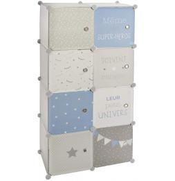 Armoire avec rangement modulable - L 64 cm x l 31,5 cm - Bleu