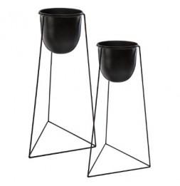 Lot de 2 pots noires avec supports en métal - Tailles différentes - Noir
