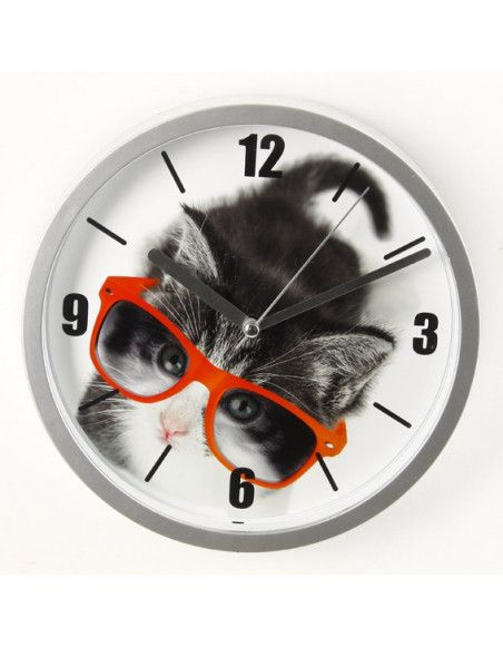 Horloge chat fun - D 22 cm - Chat à lunettes