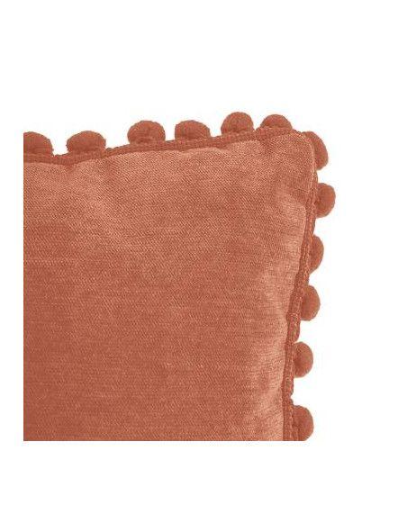 Coussin à pompons - L 40 cm x l 40 cm - Rouge