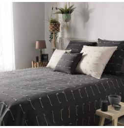 Couvre-lit en coton tissé - 180 x 220 cm - Fileo - Gris