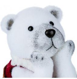 Décoration ours polaire assis - D 22 cm x H 30 cm - Blanc