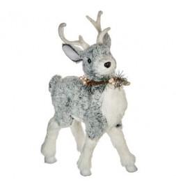 Décoration renne de Noël - L 23 cm x l 12 cm - Blanc