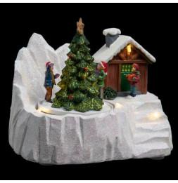 Village de Noël  - L 16,5 cm x l 11,5 cm - Sapin et chalets
