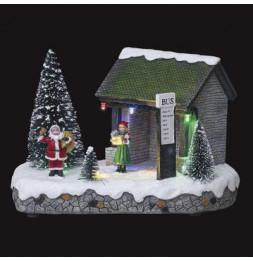 Village de Noël - L 19,5 cm x l 12,5 cm - Arrêt de bus