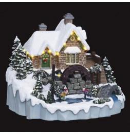 Village de Noël - L 23 cm x l 27 cm - Moulin à eau