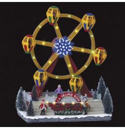 Village de Noël - L 28,5 cm x l 21 cm - Grande roue