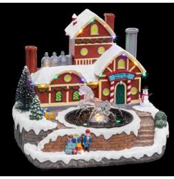 Village de Noël - L 26 cm x l 25 cm - Fontaine du Père Noël