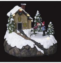 Village de Noël - L 18 cm x l 15,5 cm - Patinoire et chalet