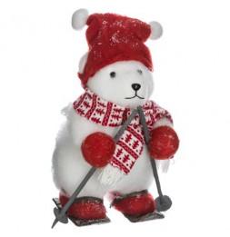 Décoration ours polaire - L 28 cm x l 25 cm x H 40 cm - Ski