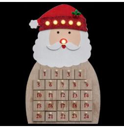 Calendrier de l'avent Père Noël - L 25 cm x l 6 cm - Bois