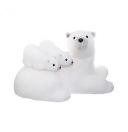 Décoration maman et bébés ours assis - L 40 cm x l 25 cm x H 25 cm - Blanc