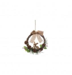 Couronne en bois renne avec nœuds - L 30 cm x H 32 cm