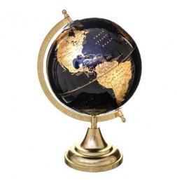 Globe terrestre socle doré - D 20 cm x H 33 cm - Noir