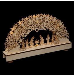 Crèche de Noël lumineuse - L 33 cm x l 5 cm x H 19 cm - Bois