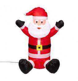 Père Noël gonflable assis - L 50 cm x l 27 cm x H 70 cm - Rouge