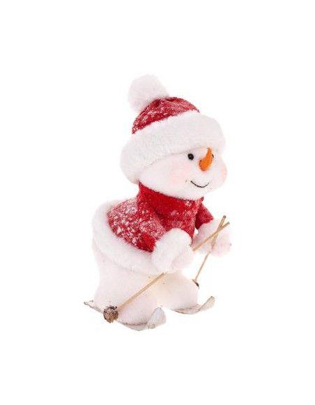 Décoration bonhomme de neige - L 28 cm x l 19 cm x H 37 cm - Ski