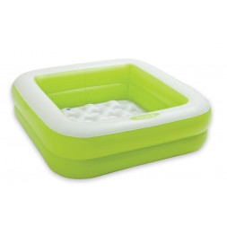 Pataugeoire carrée rembourée - Vert et blanc - Petite piscine gonflable
