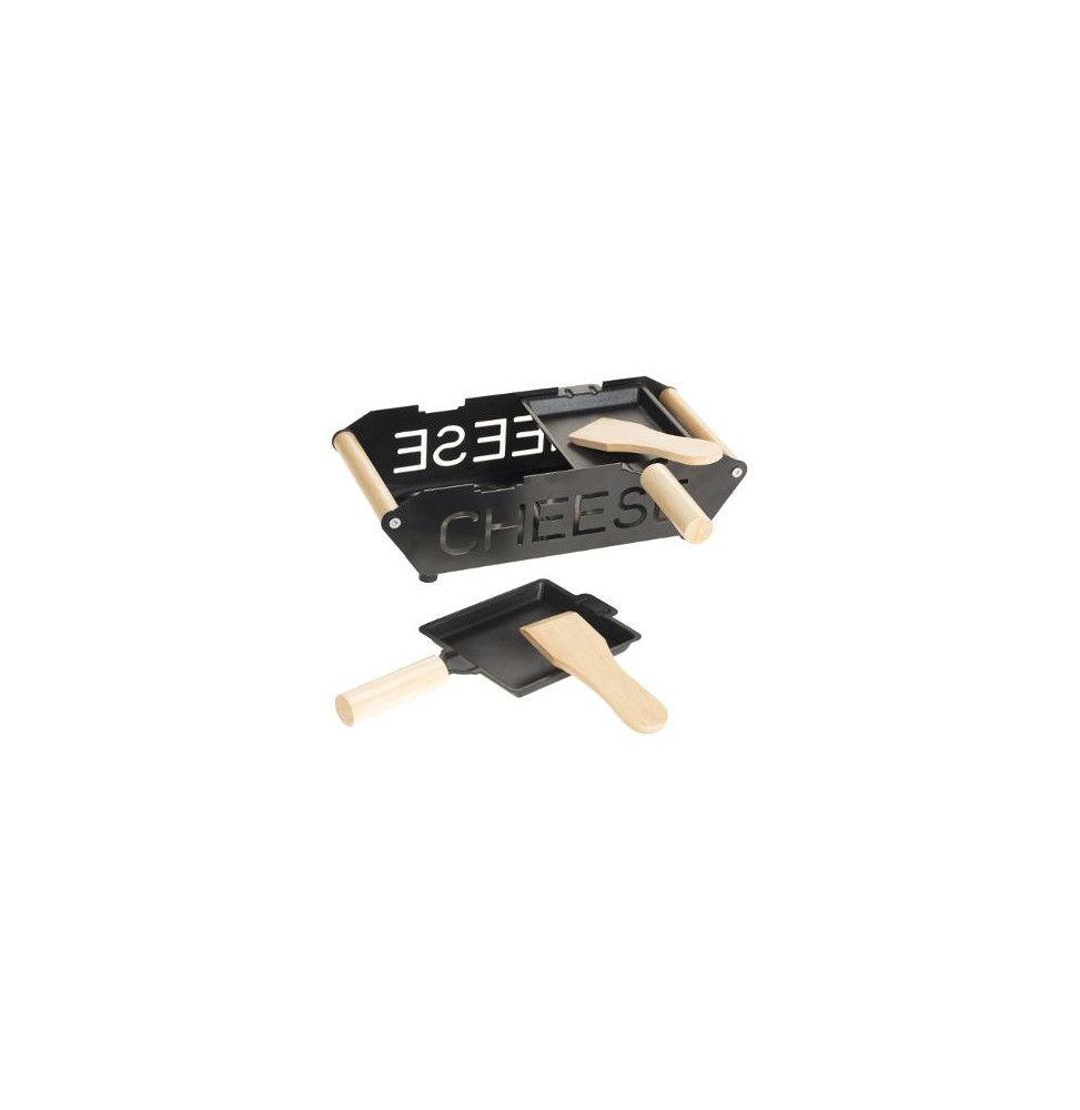Set raclette à bougie pour 2 personnes - L 23 cm x l 10 cm - Noir